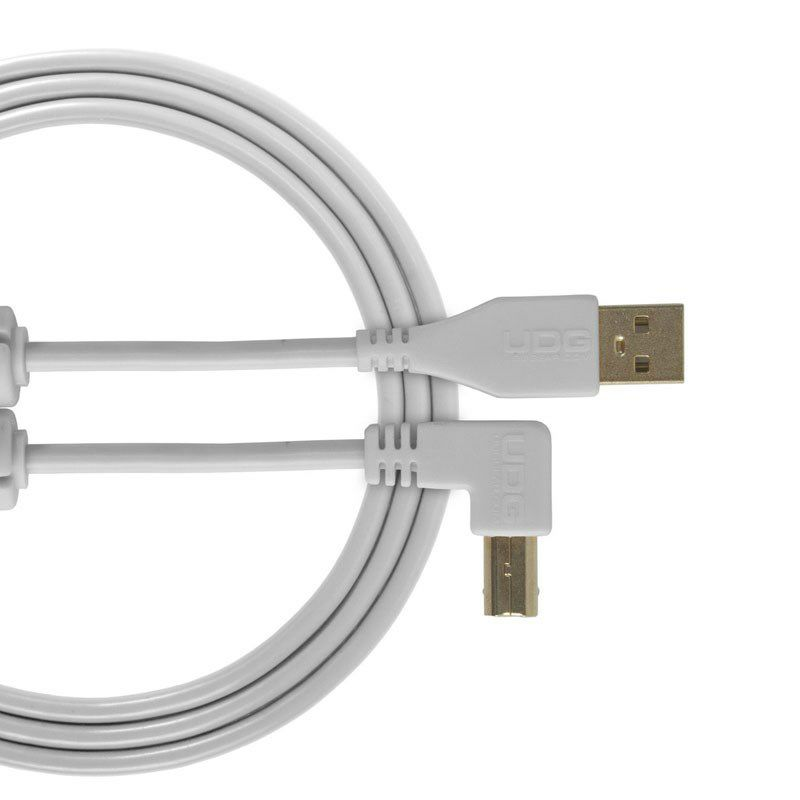 Ultimate Audio Cable USB 2.0 A-B White Angled 1m_1