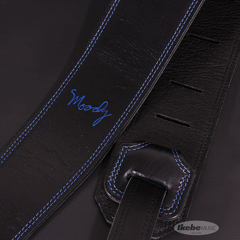 Handmade Leather Straps Leather & Leather Series 2.5inch Standard Tail【Black / Black w/Blue Stitch】_2