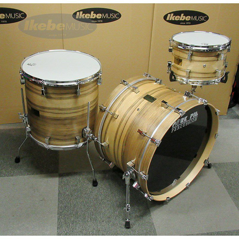 9ply Oak Shell 3pc Drum Set w/African Marble + Natural Satin Finish 【店頭展示特価品】_3