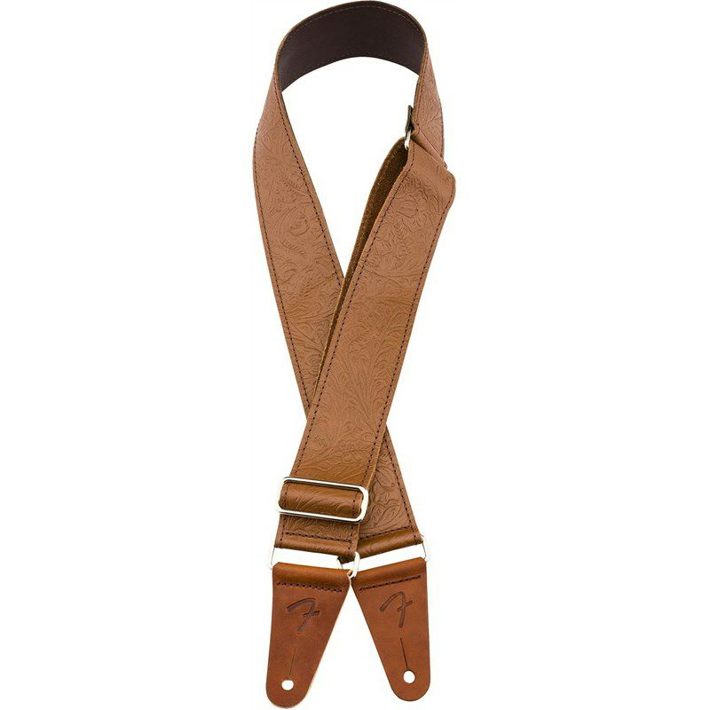 "TOOLED LEATHER GUITAR STRAP. 2"" (Brown) (#0996970000)_3"